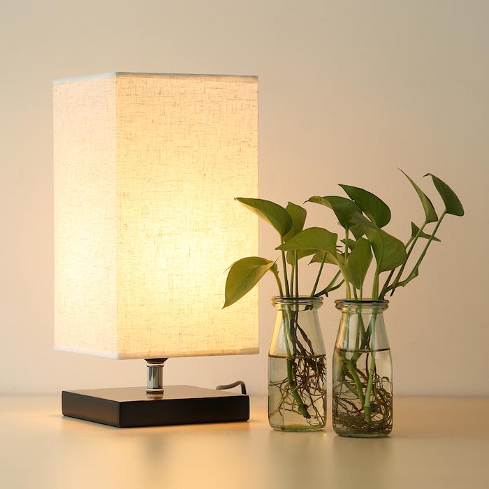 déco de chambre moderne, récipient en verre avec plantes vertes, lampe de chevet forme rectangulaire