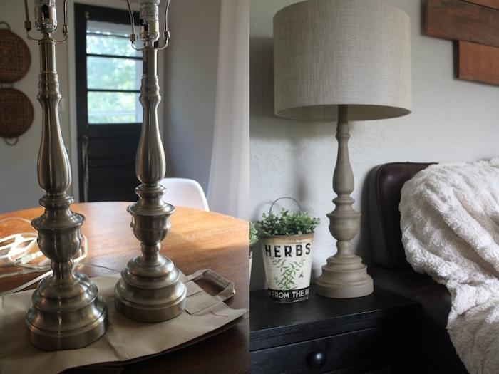 deco a faire soi meme, idée comment peindre une lampe ancienne métallique en peinture mat