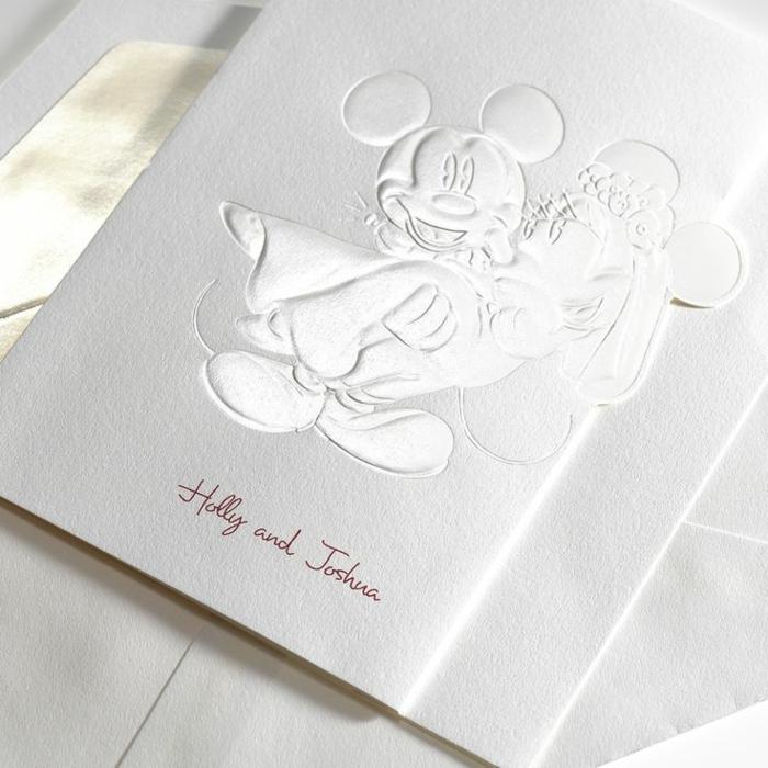 Faire part de mariage champetre faire part mariage dentelle chic Minney mouse Mickey argenté blanc