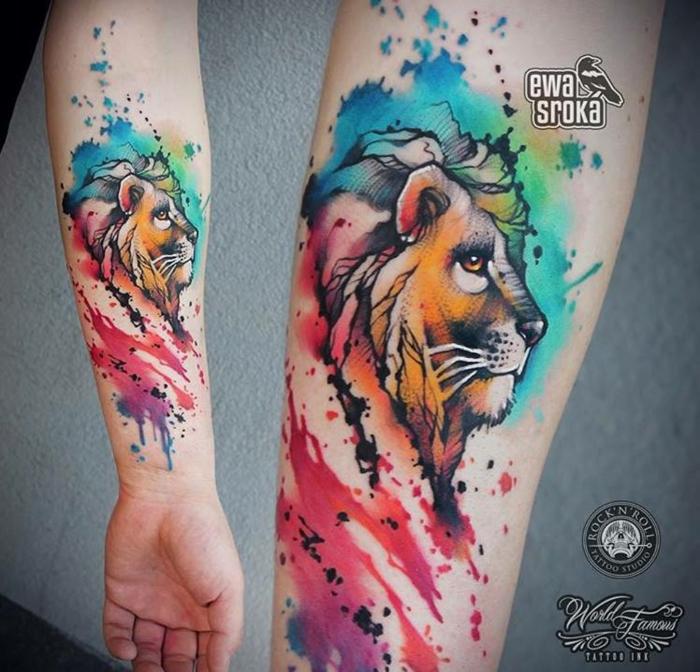 Le tatouage lion bras tattoo tete de lion realistic tattoo cool idée couleur tatou