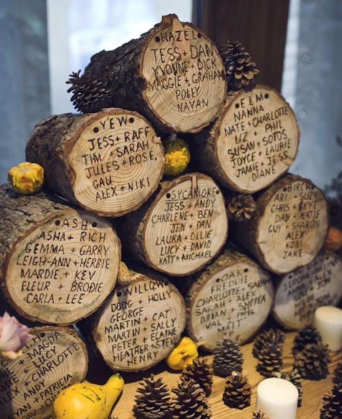 idée de bûches de bois avec noms invités gravés sur le tronc, decoration automne de pommes de pin et petites courgettes