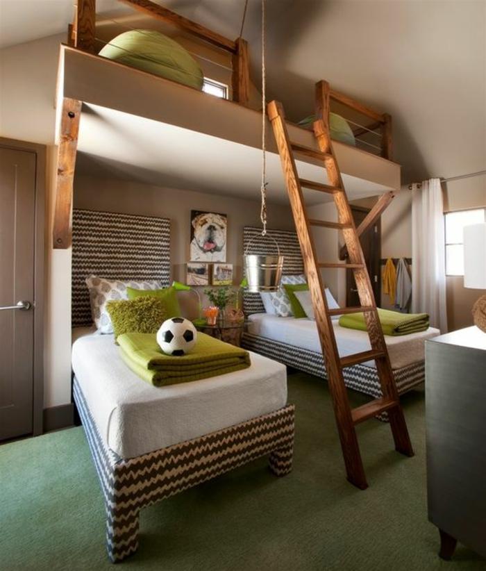 chambre d ado garçon theme football lits qui sont des champs de football interieur en vert réséda et en blanc