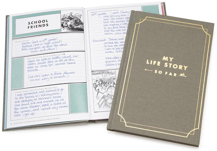 idée de journal histoire de la vie pour décrire ses expériences jusqu'à présent avec illustrations en noir et blanc, bonne fete papy