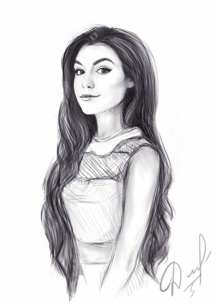 Admirable dessin fille esquisse graphique fille bien habillée belle chevelure