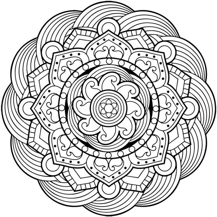 un dessin anti stress à colorier en forme de mandala floral à effet presque hypnotique
