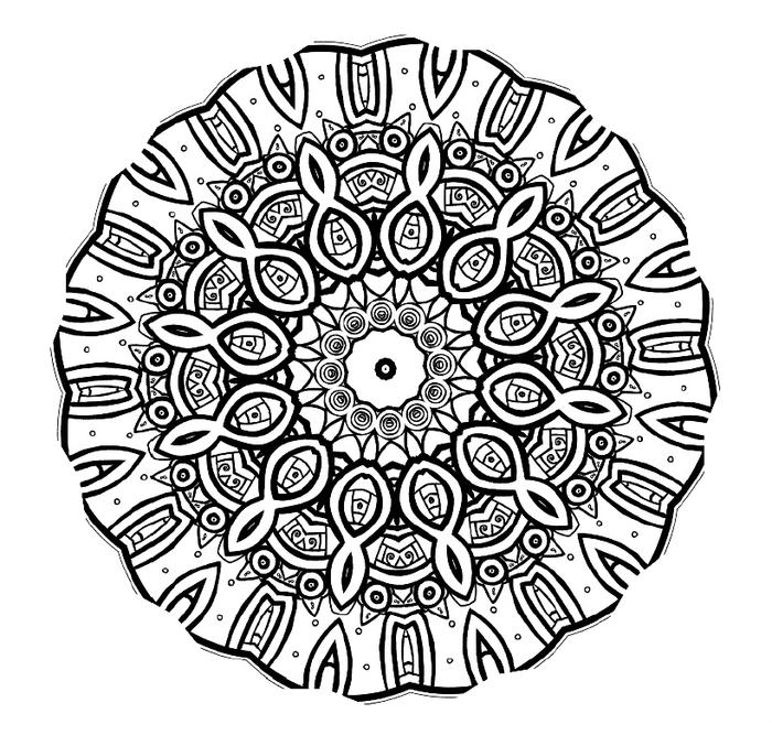 les bienfaits thérapeutiques du coloriage de mandala, une rosace orientale à motifs subtils contenant des symboles de l infini
