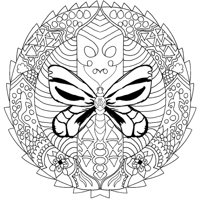 un mandala à colorier original associant un papillon, des requins et une variété de motifs géométriques