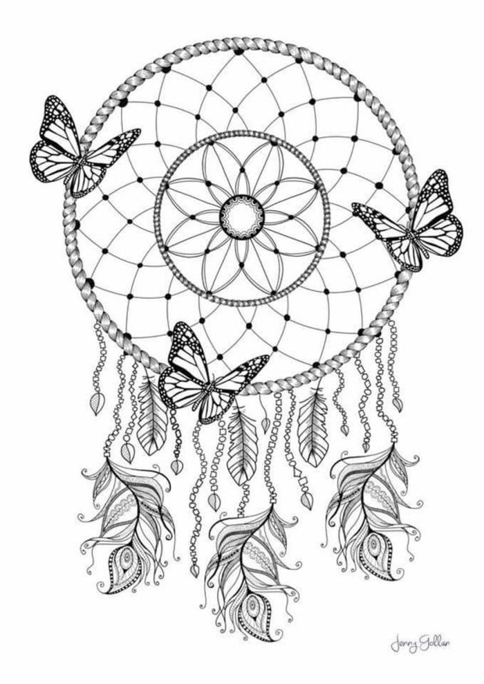 joli dessin zen à colorier et à imprimer en forme d'attrape-rêve indien décoré de papillons