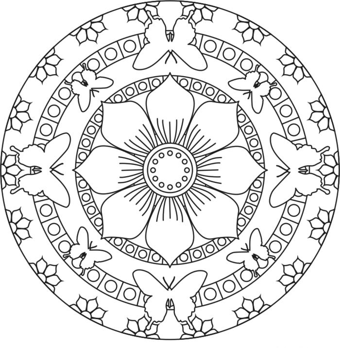un mandala à colorier pour adultes et enfants composé de cercles concentriques à motifs floraux et papillons