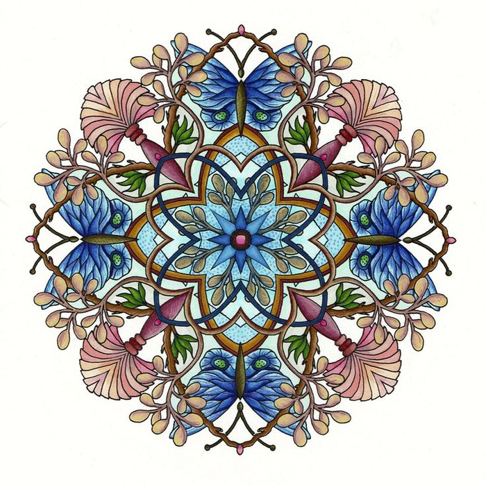 un joli coloriage de mandala nature à motifs papillons bleu, palmiers et branches aux bourgeons florissants