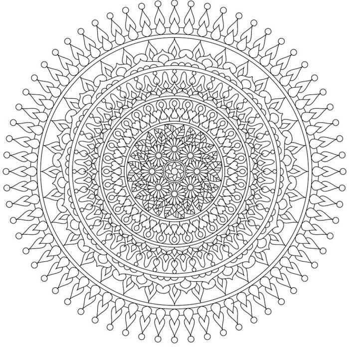 un coloriage de mandalas au design en cercles concentriques et aux motifs orientaux