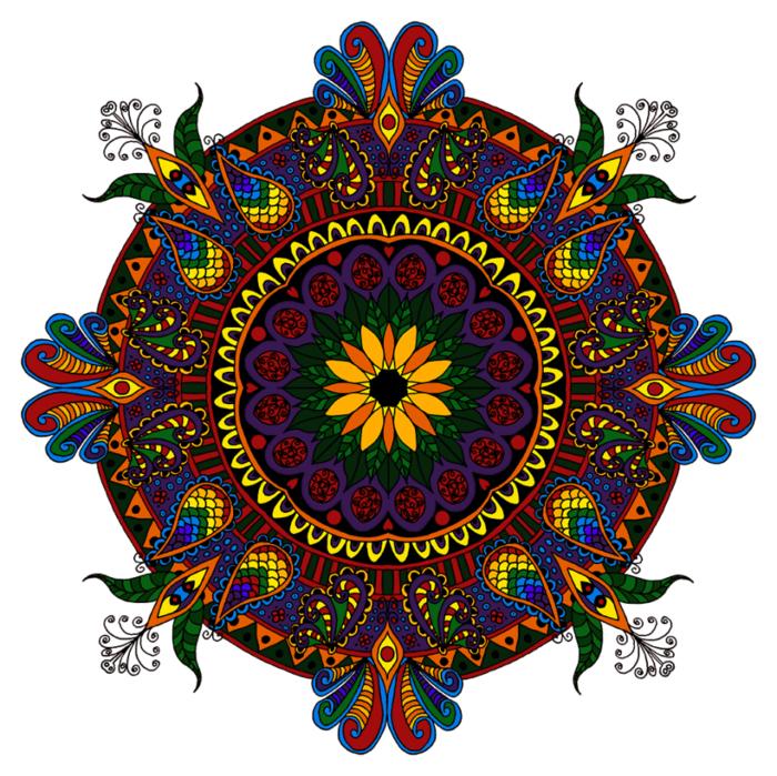 un joli mandala à colorier aux motifs floraux indiens dépassant du cercle