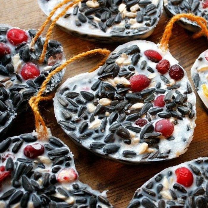 mangeoire à oiseaux, cookies pour les oiseaux avec produits alimentaires et ficelle