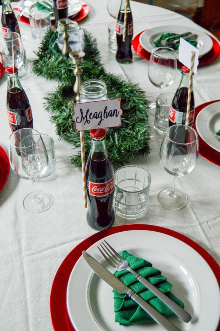 Inspiration marque place personnalisé image déco de table centre noel