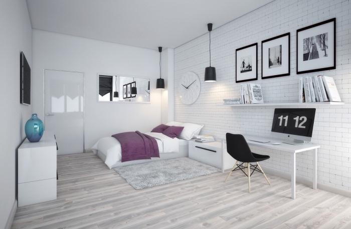 deco scandinave pas cher, parquet clair, bureau blanc, chaise noir dans un coin travail, linge de lit blanc et mauve, étagère blanche, deco murale dessins graphiques, commode blanc