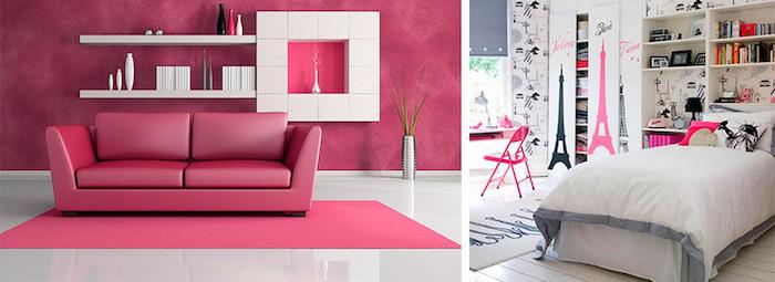 peinture chambre, salon moderne aux murs framboise et plancher carrelage blanc, tapis rectangulaire en rose