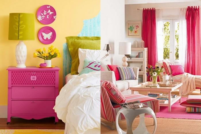 peinture chambre, table de chevet en bois peint en framboise, lampe de chevet en blanc et vert, bouquet de tulipes jaunes