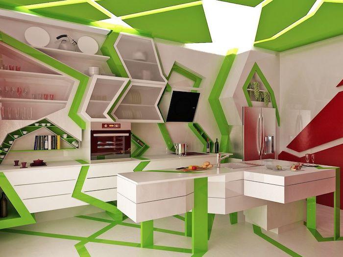 cuisine équipée, décoration intérieur en blanc et vert à motifs triangulaires, étagères murales en blanc