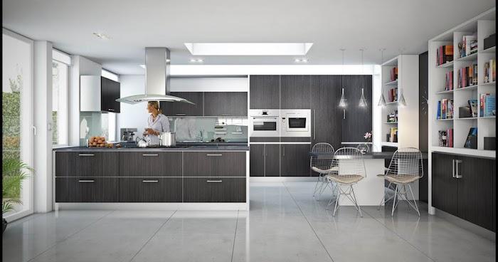 buffet de cuisine, carrelage de sol à effet marbre, cuisine avec meubles en bois foncé