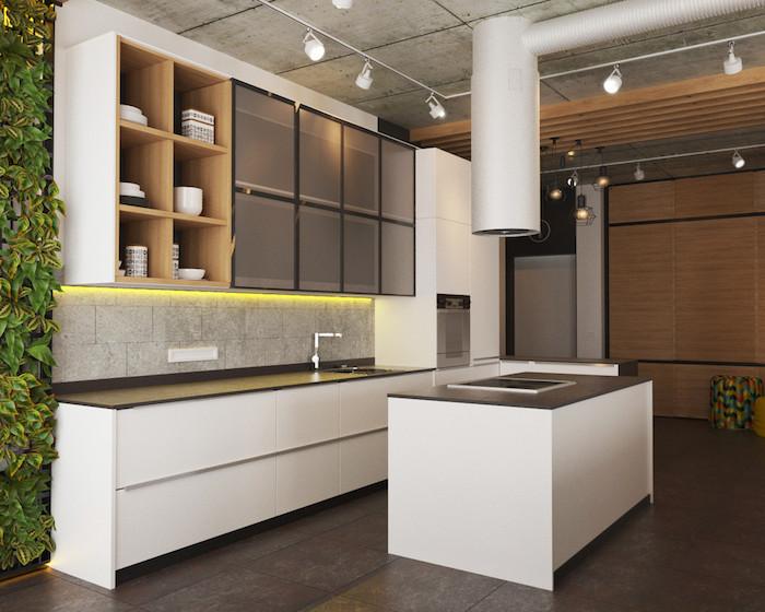 idee deco cuisine, comment créer une ambiance zen dans la cuisine, mur végétal décoratif, meubles en bois clair