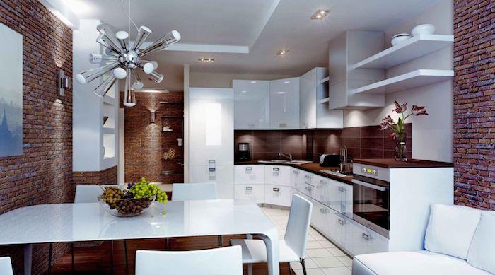 decoration interieur, plafond suspendu avec éclairage led, peinture paysage naturel, canapé d'angle en cuir blanc