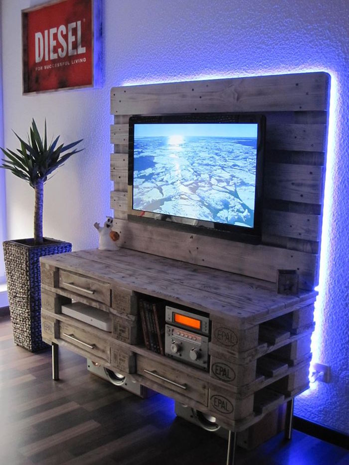 1001 id es meuble tv palette le recyclage en cha ne. Black Bedroom Furniture Sets. Home Design Ideas