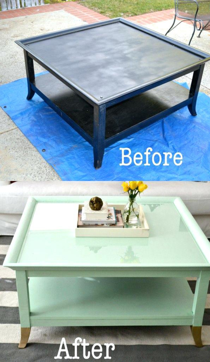 comment repeindre une table en bois, table basse relookée avec de la peinture couleur vert d'eau