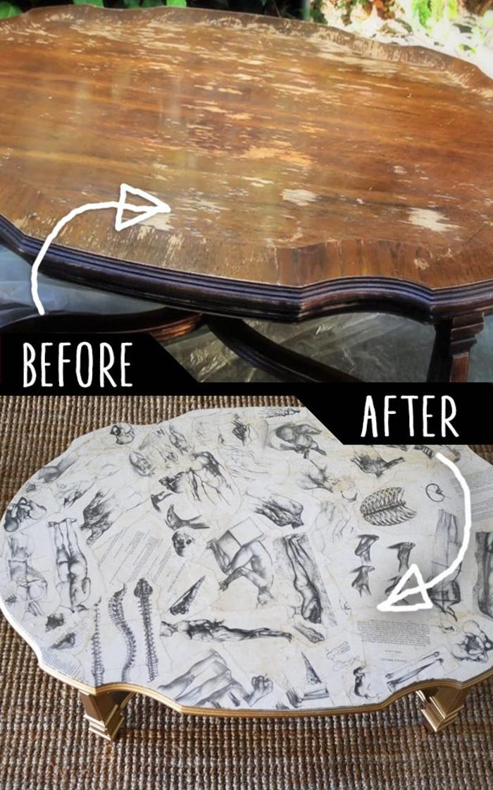 comment restaurer une table en bois pour lui donner un aspect moderne unique, table basse relookée avec un collage