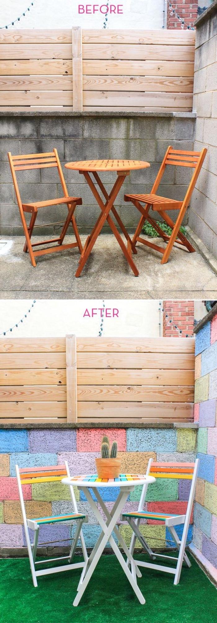 un meuble relooké avant après transformée à l'aide de la peinture, une jolie table repeinte avec des chaises assorties