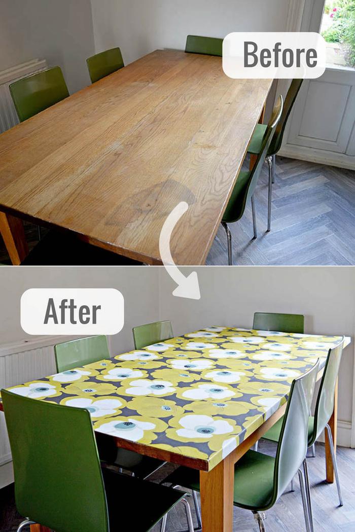 jolie idée pour un relooking salle à manger avec une simple table en bois revêtue de papier adhésif motif vintage floral