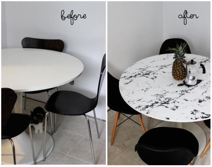 idée originale pour un relooking salle à manger avec du film adhésif décoratif à motif marbre