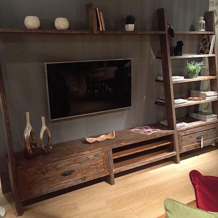 meuble de salon en palette bois et étagère murale