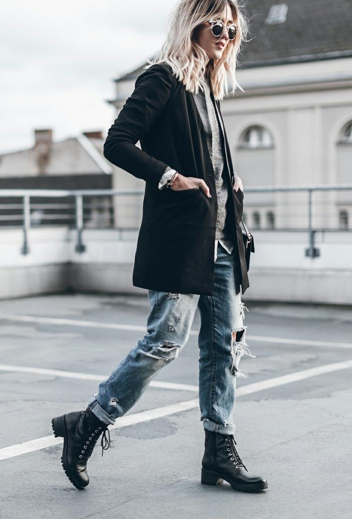 Comment porter des bottines associé comment porter le jean boyfriend tomboy tenue magnifique
