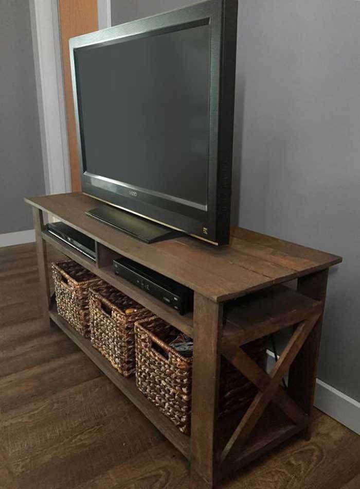 1001 id es meuble tv palette le recyclage en cha ne for Petit meuble angle salon