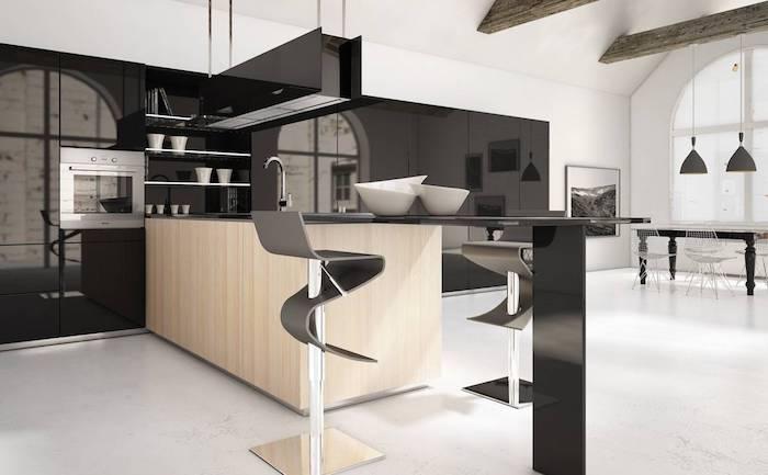 meuble haut cuisine, table à manger noire, peinture paysage naturel en blanc et noir
