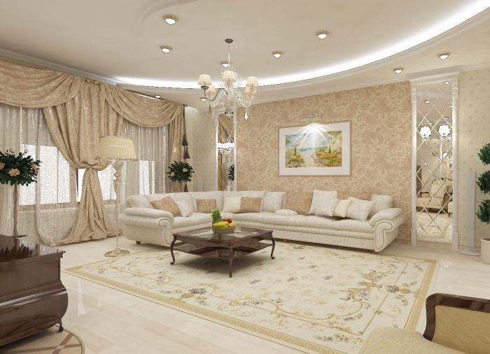 idée deco salon moderne somptueux, canapé blanc cassé et plafond blanc classique, table basse bois, tapis murs d accent et rideaux beige