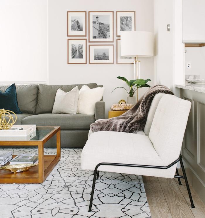 tapis cocooning noir et blanc dans un salon avec canapé gris, canapé blanc, table basse en bois avec plateau en verre, deco murale de photos en noir et blanc