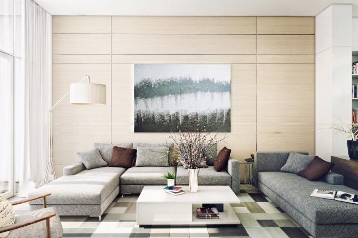 idée de mur bois couleur ecru, canapé gris, table basse blanche et tapis gris, beige et blanc, deco murale abstraite