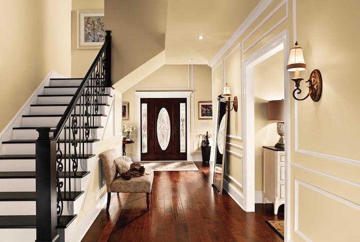 idée peinture intérieur maison style couloirs et murs en beige lin