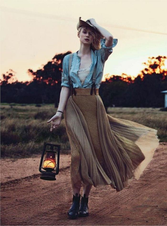 Devernois robe chemise marron femme robe blouse femme jupe longue bottines chemise cool tenue