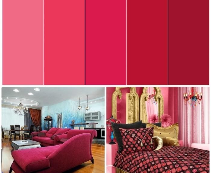 peinture murale, aménagement salon au plafond blanc, lustre en cristaux style baroque, chambre à coucher aux murs framboise