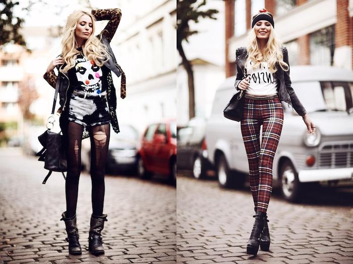tenue rock, veste en simili cuir noir avec manches à motifs léopard, shorts en blanc et noir avec collants déchirés