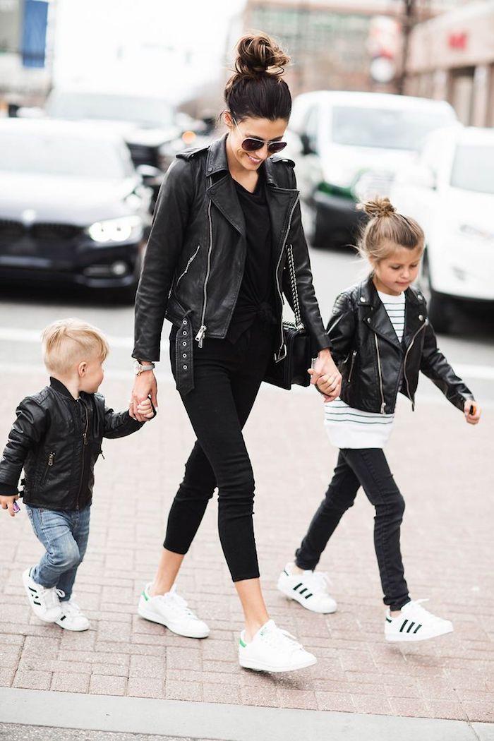 vetement femme fashion, look total noir en veste simili cuir noir avec fermetures éclaires