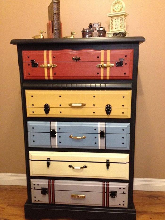 commode à peindre relooking meubles repeindre meuble en bois à tiroirs original valise