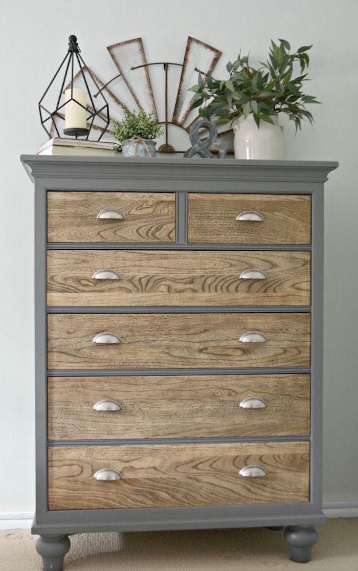renover commode peindre meuble en bois en gris