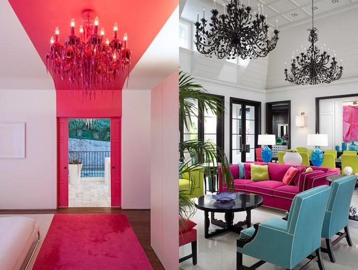 deco maison, hall d'entrée aux murs blancs et déco peinture en framboise, grandes fenêtres à carreaux peintes en noir
