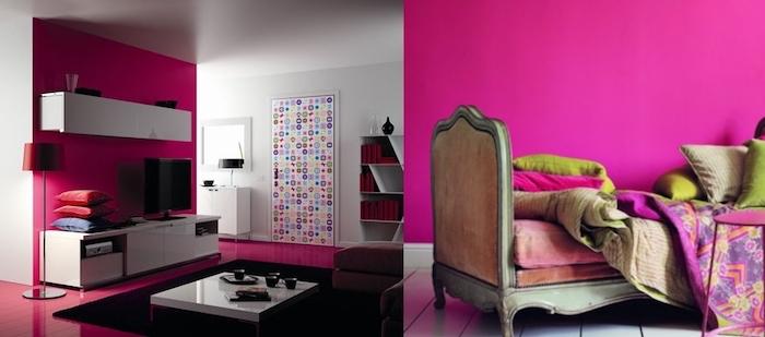 objet deco, salon aux murs blancs et plancher framboise, aménagement salon moderne, chambre à coucher aux murs rose foncé
