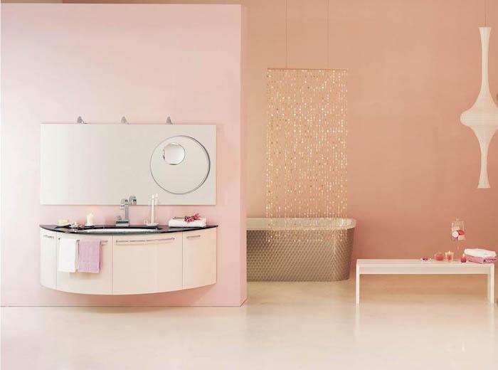 modèle de salle de bain moderne et minimaliste, peinture murs salle de bain en rose pastel