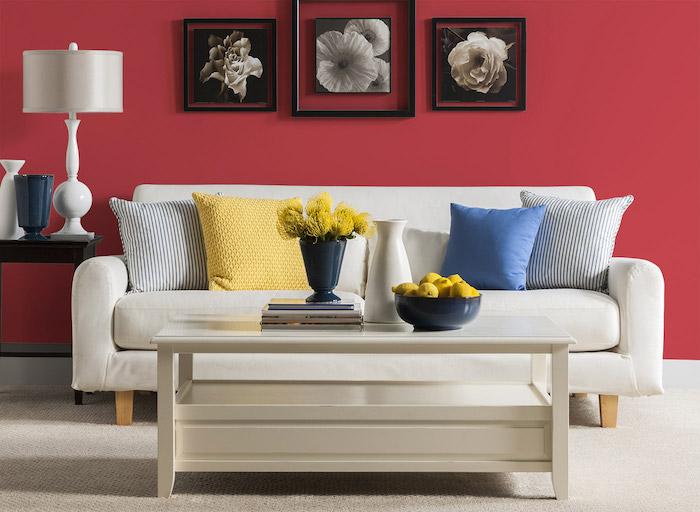 peinture rouge pour un mur d'accent, table basse et canapé blanc, tapis gris perle, coussin bleu, jaune, cadre noirs avec photographies de fleurs
