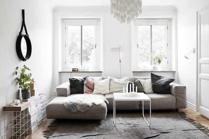 petit salon deco esprit scandinave style nordique blanc et gris
